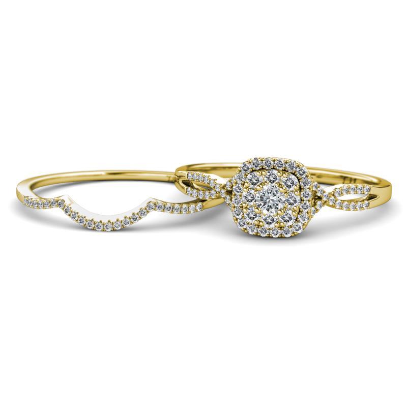Yesenia Prima Diamond Halo Bridal Set Ring - Diamond Women Split Shank Double  Halo Engagement Ring & Wedding Band 14K Yellow Gold.