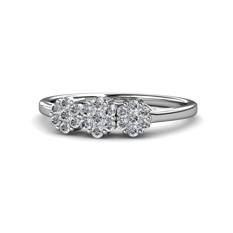 Petunia Diamond Floral Anniversary Ring - Diamond Floral Anniversary Ring 0.50 ctw 14K White Gold