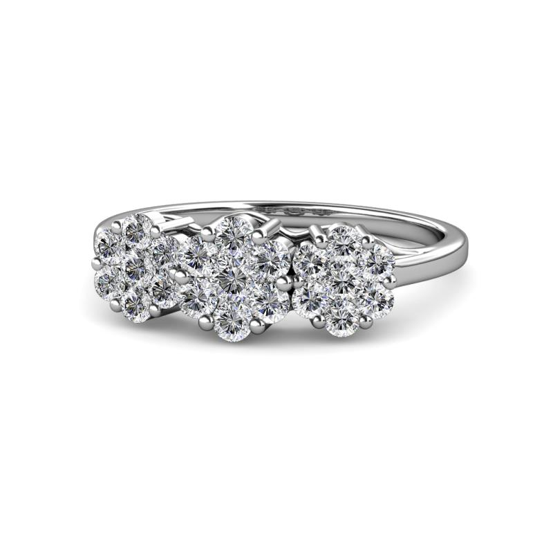 Petunia Diamond Floral Anniversary Ring - Diamond Floral Anniversary Ring 1.75 ctw 14K White Gold