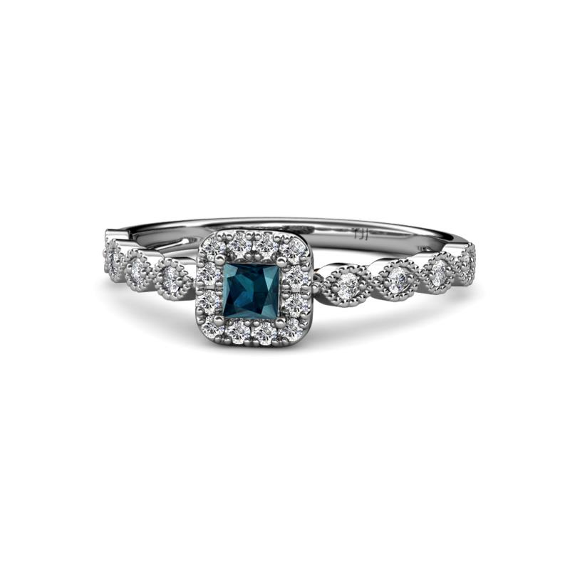 Princess Cut 4 Mm Blue And White Diamond Infinity Womens Halo Engagement Ring 0 76 Ctw 14k White Gold Trijewels