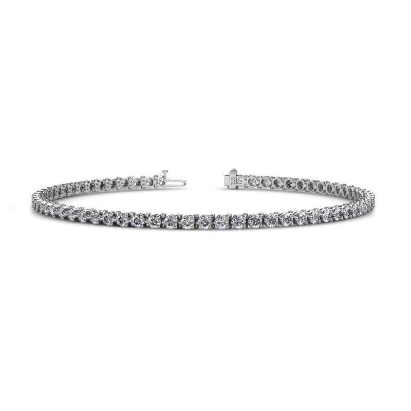 Cliona 2.4 mm Lab Grown Diamond Eternity Tennis Bracelet - Lab Grown Diamond 3-Prong Womens Eternity Tennis Bracelet 2.65 ctw 14K White Gold