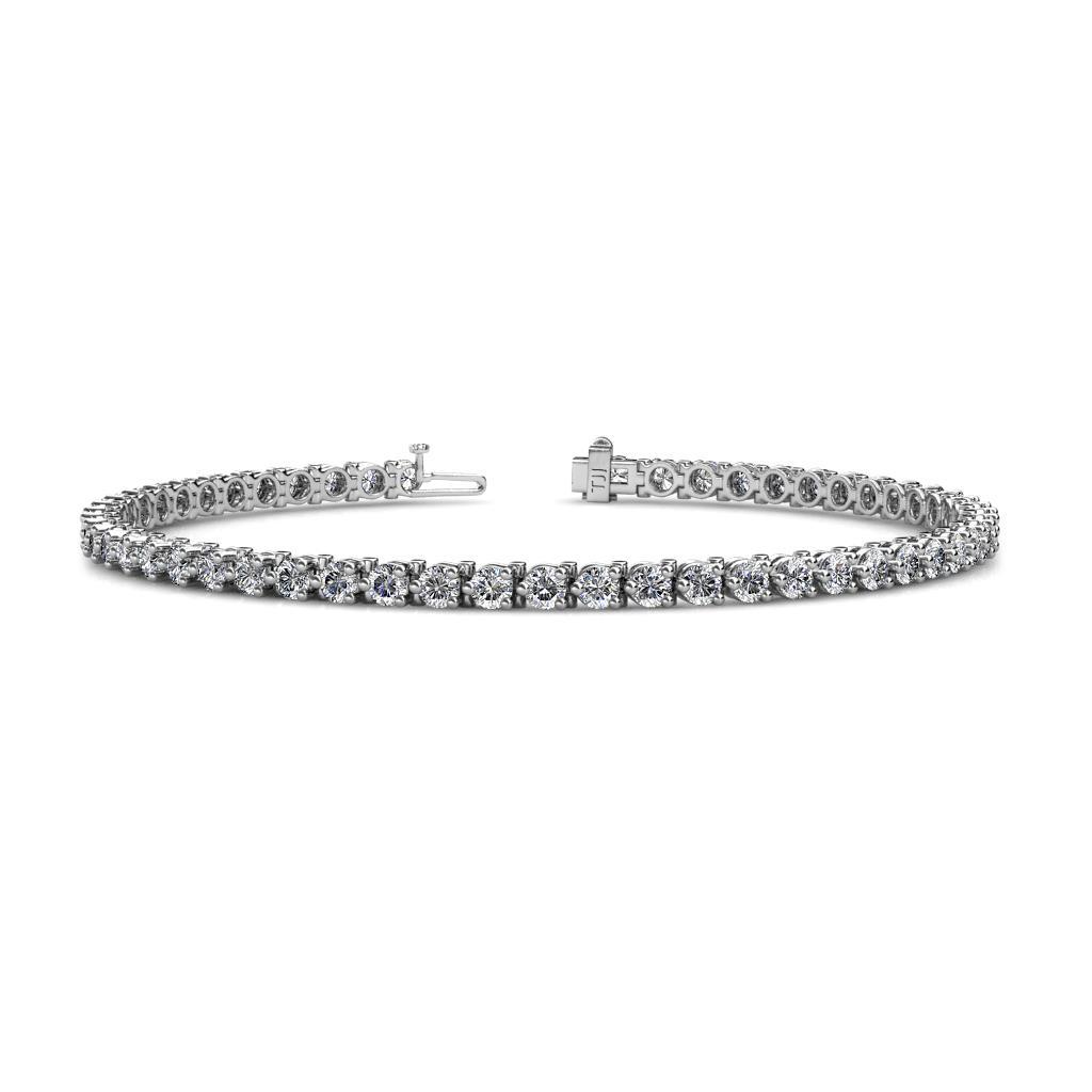 Cliona 2.8 mm Lab Grown Diamond Eternity Tennis Bracelet - Lab Grown Diamond 3-Prong Womens Eternity Tennis Bracelet 3.68 ctw 14K White Gold