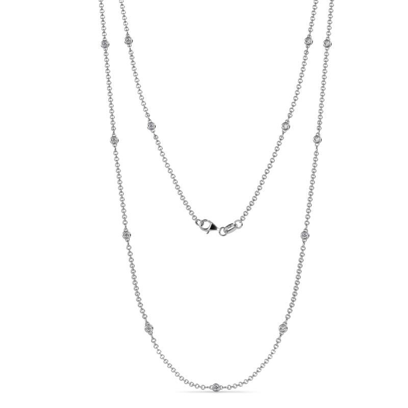 Lien (13 Stn/1.9mm) Lab Grown Diamond on Cable Necklace - 13 Stone Petite Lab Grown Diamond Womens Station Necklace 0.36 ctw 14K White Gold