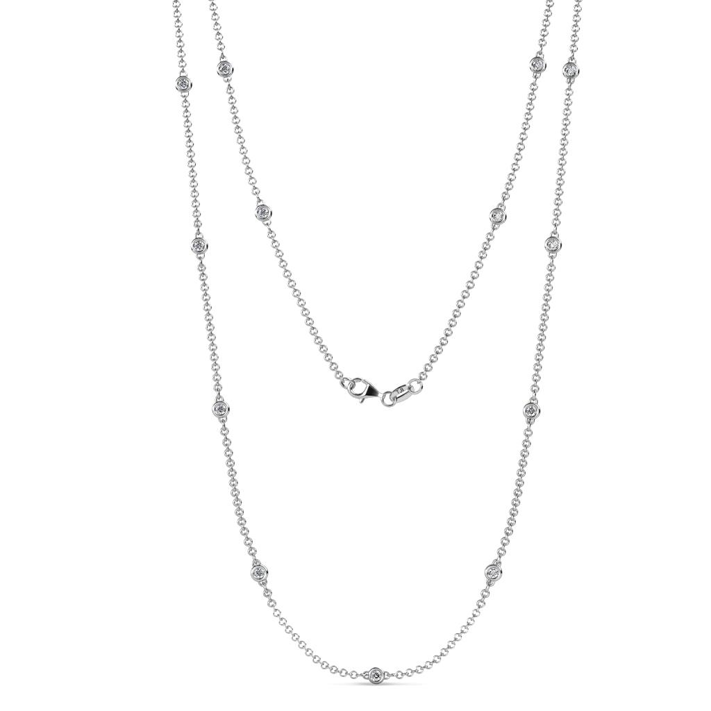 Lien (13 Stn/2.3mm) Lab Grown Diamond on Cable Necklace - 13 Stone Lab Grown Diamond Womens Station Necklace 0.59 ctw 14K White Gold