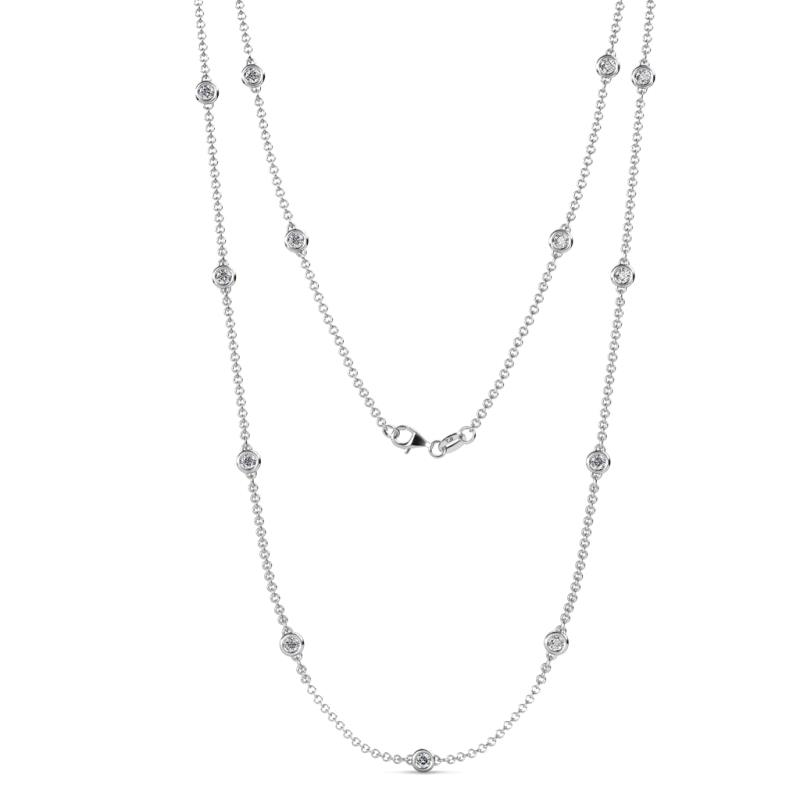 Lien (13 Stn/2.6mm) Lab Grown Diamond on Cable Necklace - 13 Stone Lab Grown Diamond Womens Station Necklace 0.85 ctw 14K White Gold