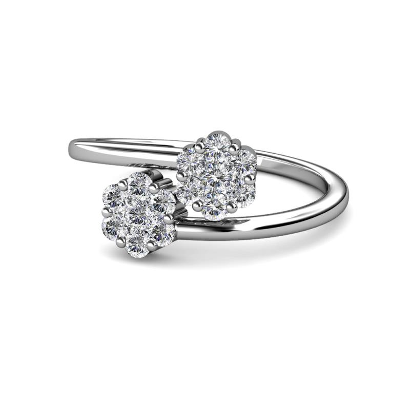 Camellia Diamond Floral Anniversary Ring - Diamond Floral Anniversary Ring 1.00 ctw 14K White Gold