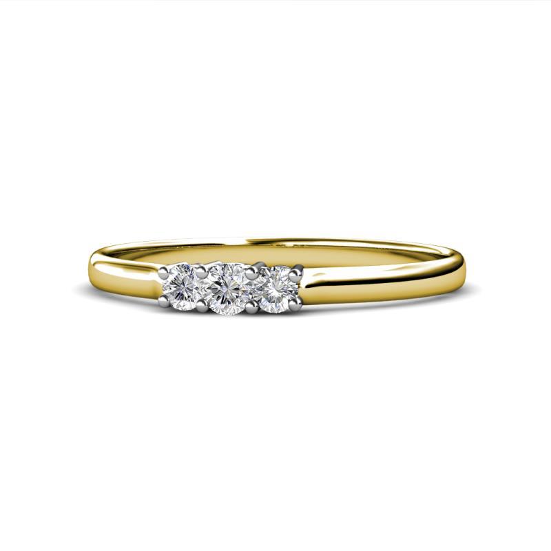 Nicole Diamond Three Stone Engagement Ring - Diamond Three Stone Engagement Ring 0.25 ctw 14K Yellow Gold