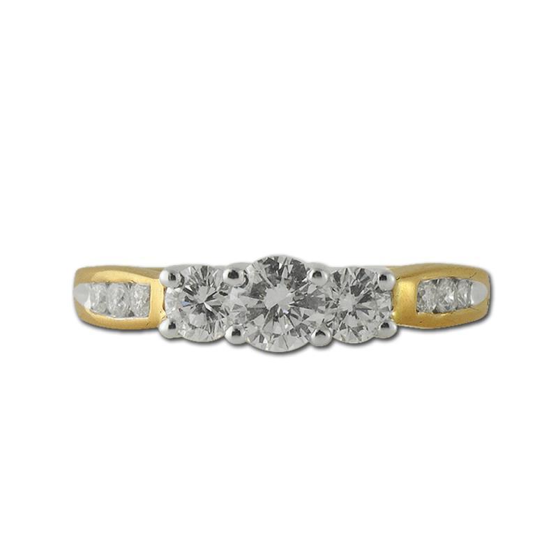 Steffi Diamond Three Stone Engagement Ring - Diamond Three Stone with Side Diamond Engagement Ring 1.00 ctw 14K Yellow Gold