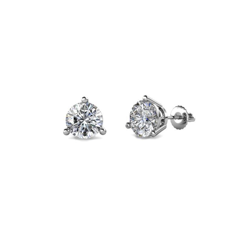 Elise Lab Grown Diamond (5mm) Solitaire Stud Earrings - Lab Grown Diamond Three Prong Womens Solitaire Stud Earrings 1.00 ctw 14K White Gold