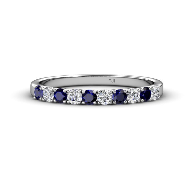 Emlynn 2.70 mm Blue Sapphire and Diamond Wedding Band - French Set Blue Sapphire and Diamond 10 Stone Womens Wedding Band Stackable 0.72 ctw 14K White Gold
