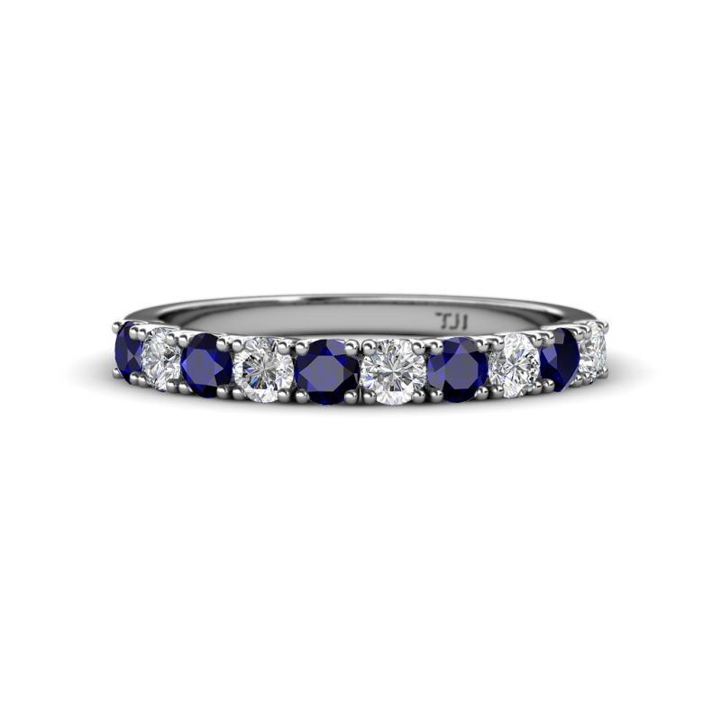 Emlynn 3.00 mm Blue Sapphire and Diamond Wedding Band - French Set Blue Sapphire and Diamond 10 Stone Womens Wedding Band Stackable 1.03 ctw 14K White Gold