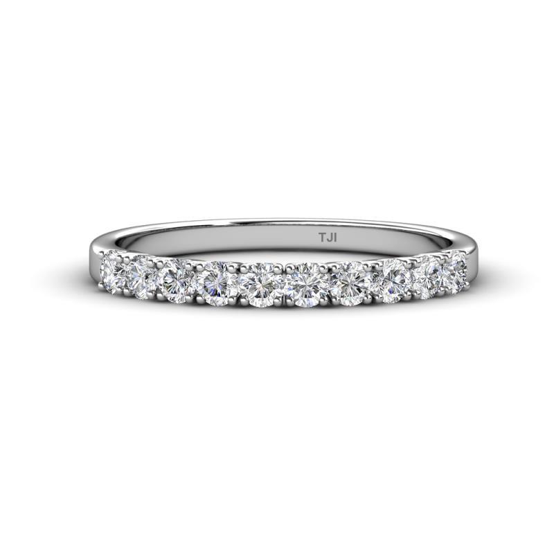 Emlynn 2.70 mm Diamond Wedding Band - French Set Diamond 10 Stone Womens Wedding Band Stackable 0.70 ctw 14K White Gold