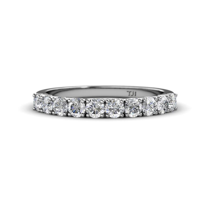 Emlynn 3.00 mm Diamond Wedding Band - French Set Diamond 10 Stone Womens Wedding Band Stackable 1.00 ctw 14K White Gold