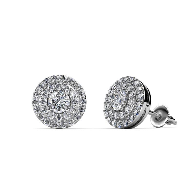 Eryn Lab Grown Diamond Double Halo Stud Earrings - Lab Grown Diamond Womens Double Halo Stud Earrings 0.83 ctw 14K White Gold
