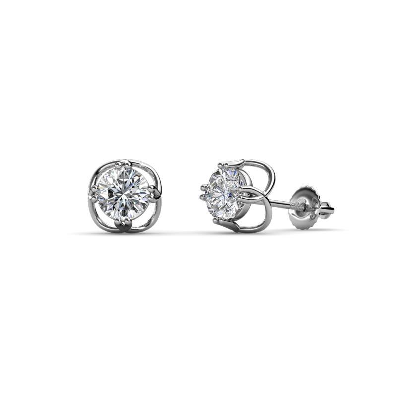 Alma Diamond (5mm) Open Tulip Stud Earrings - Diamond Open Tulip Solitaire Womens Stud Earrings 1.00 ctw 14K White Gold
