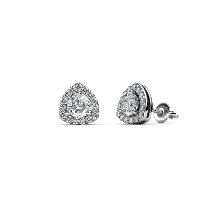 Alkina Diamond Stud Earrings - Diamond Trillion Shape Womens Stud Earrings 0.54 ctw 14K White Gold