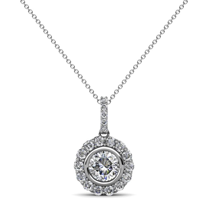 Galice Lab Grown Diamond Halo Pendant - Lab Grown Diamond Womens Halo Pendant Necklace 0.94 ctw 14K White Gold.Included 18 Inches 14K White Gold Chain