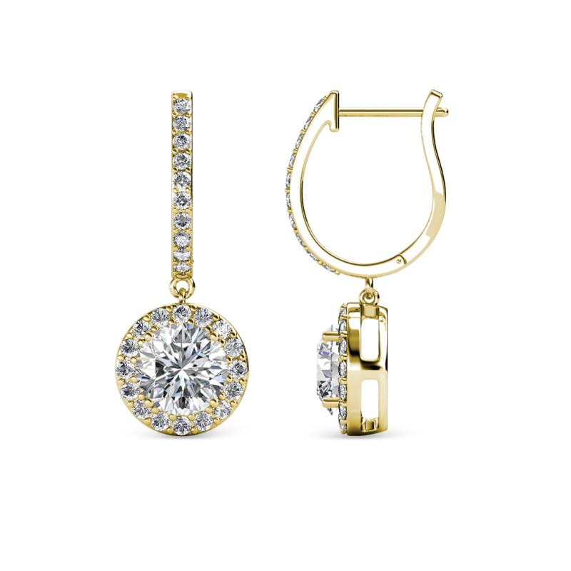 Ilona Center Lab Grown Diamond and Side Mined Diamond Halo Dangling Earrings - Center Lab Grown Diamond and Side Mined Diamond Womens Halo Drop and Dangle Earrings 2.12 ctw 18K Yellow Gold