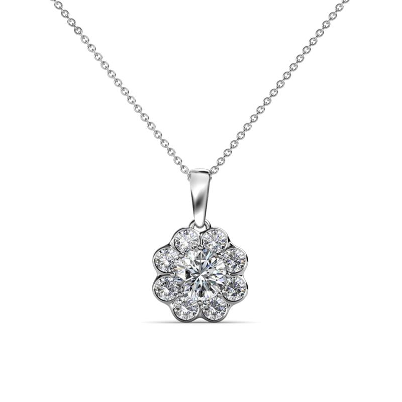 Urania Center Lab Grown Diamond and Side Mined Diamond Floral Halo Pendant - Center Lab Grown Diamond and Side Mined Diamond Womens Floral Halo Pendant Necklace 1.00 ctw 14K White Gold.Included 18 Inches 14K White Gold Chain