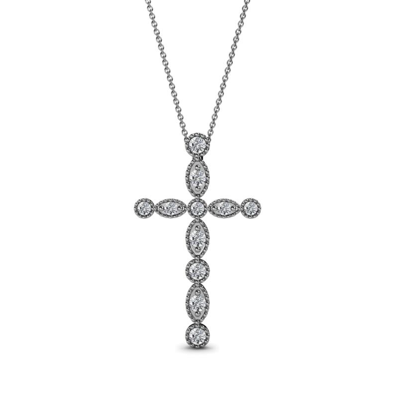 Abha Petite Lab Grown Diamond Cross Pendant - Petite Lab Grown Diamond Marquise and Dot Womens Cross Pendant Necklace 0.21 ctw 14K White Gold.Included 18 Inches 14K White Gold Chain