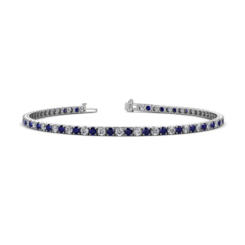 Leslie 2.7 mm Blue Sapphire and Lab Grown Diamond Eternity Tennis Bracelet - Blue Sapphire and Lab Grown Diamond Womens Eternity Tennis Bracelet 4.16 ctw 14K White Gold