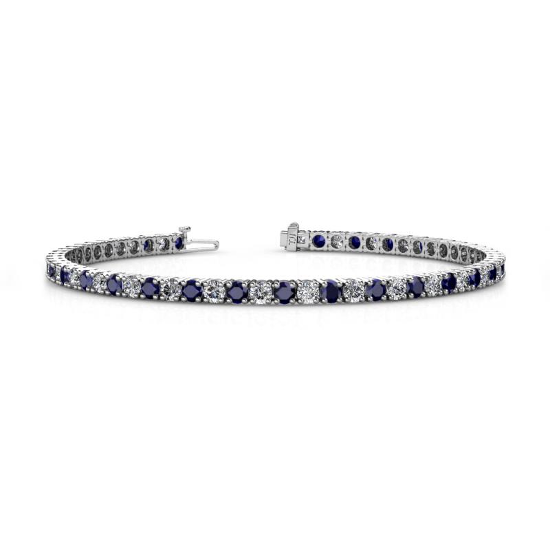Leslie 3.4 mm Blue Sapphire and Lab Grown Diamond Eternity Tennis Bracelet - Blue Sapphire and Lab Grown Diamond Womens Eternity Tennis Bracelet 7.38 ctw 14K White Gold