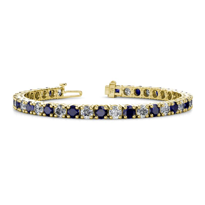 Leslie 4 mm Blue Sapphire and Lab Grown Diamond Eternity Tennis Bracelet - Blue Sapphire and Lab Grown Diamond Womens Eternity Tennis Bracelet 10.50 ctw 14K Yellow Gold