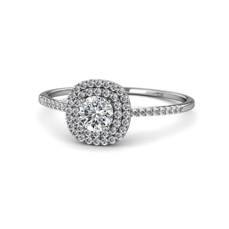 Marilyn Prima Round Diamond 0.84 ctw Halo Engagement Ring - Round Diamond Womens Halo Engagement Ring 0.84 ctw 14K White Gold