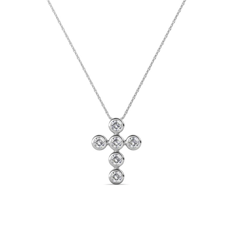 Vianca Petite Round Diamond Cross Pendant - Petite Round Diamond Womens Cross Pendant Necklace 0.10 ctw 14K White Gold.Included 18 Inches 14K White Gold Chain