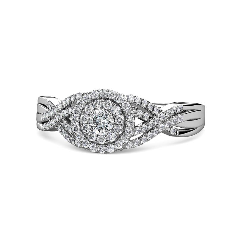 Shayna Prima Round Diamond 0.61 ctw Double Halo Engagement Ring - Round Diamond Womens Twisted Double Halo Engagement Ring 0.61 ctw 14K White Gold