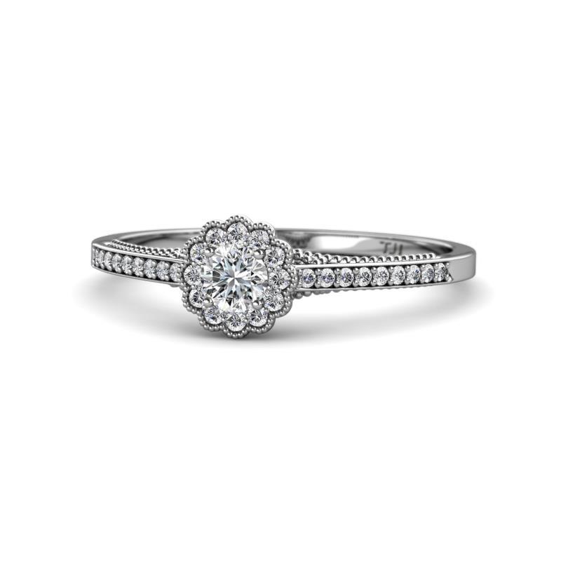 Jesenia Prima Round Diamond 0.50 ctw Floral Halo Engagement Ring - Round Diamond Womens Floral Halo Engagement Ring 0.50 ctw 14K White Gold