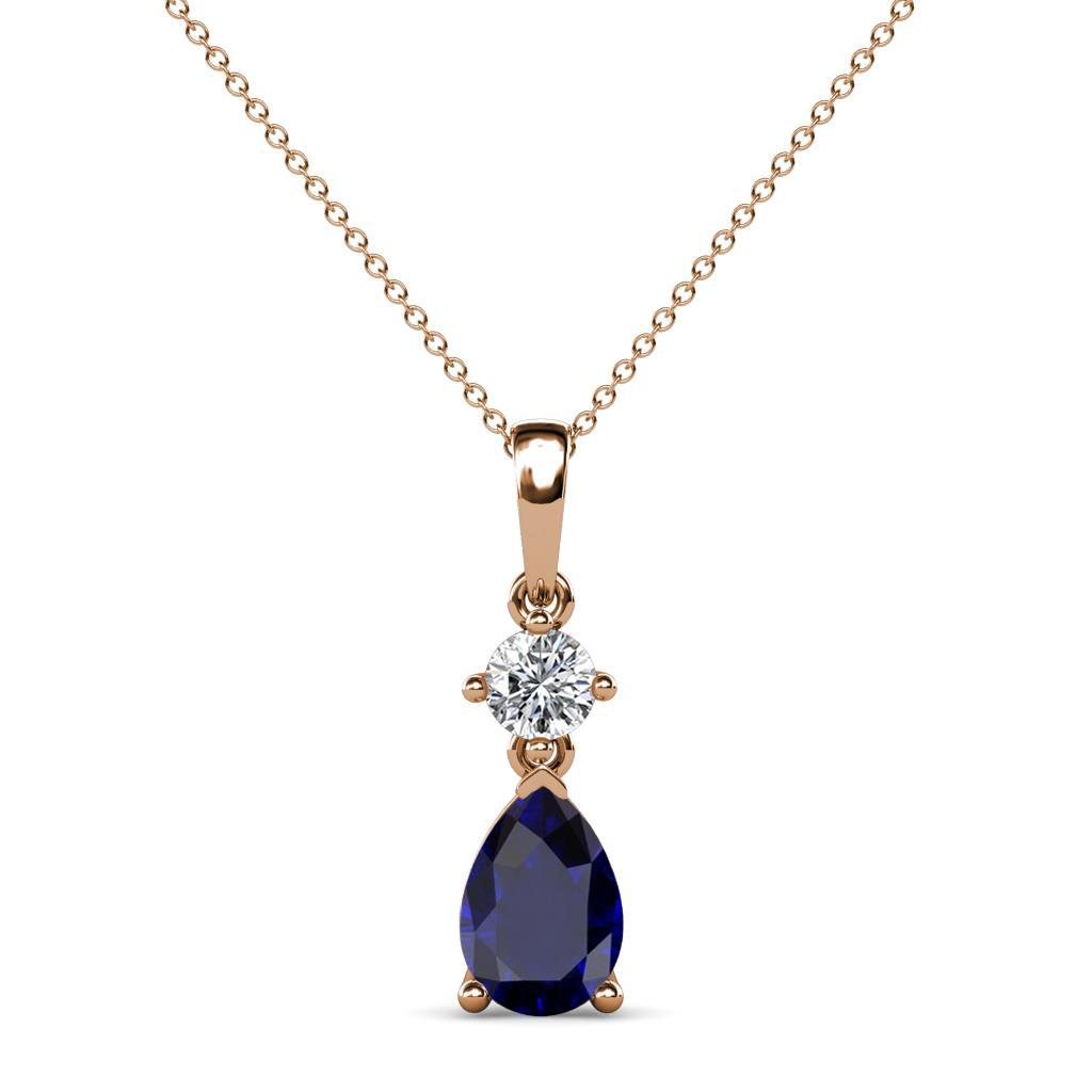 Zaila Pear Cut Blue Sapphire and Diamond Two Stone Pendant - Pear Cut (7x5 mm) Blue Sapphire and Diamond Two Stone Pendant 0.90 ctw 14K Rose Gold.Included 18 Inches 14K Rose Gold Chain