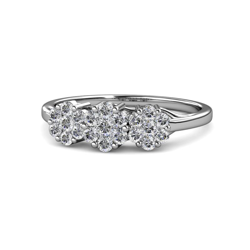 Petunia Round AGS Certified Diamond Floral Anniversary Ring - Round AGS Certified Diamond Floral Anniversary Ring 1.00 ctw 14K White Gold