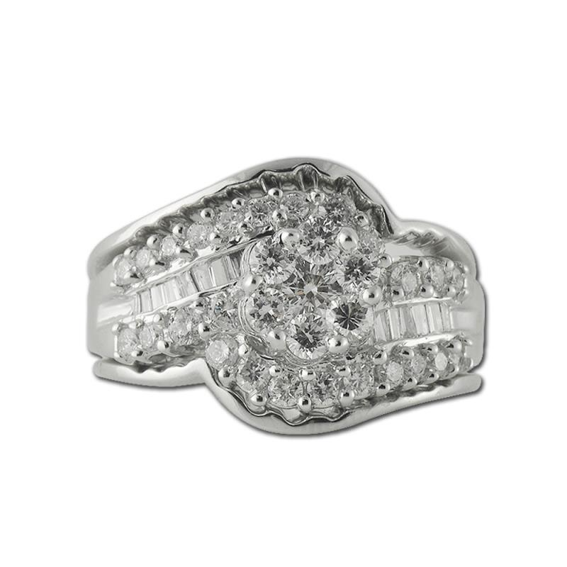 Raissa Round and Baguette Shape AGS Certified Diamond 1.25 ctw Cluster Anniversary Ring - Round and Baguette Shape AGS Certified Diamond Womens Cluster Anniversary Ring 1.25 ctw 14K White Gold