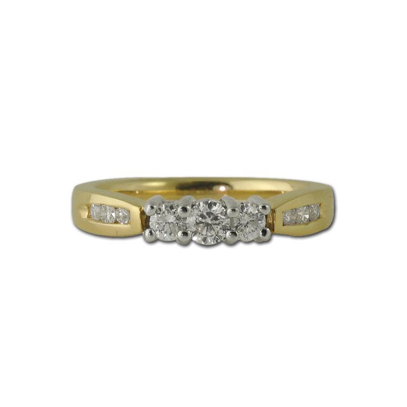 Zoila Round AGS Certified Diamond Three Stone Engagement Ring 0.50 ctw - Round AGS Certified Diamond Three Stone with Side Diamond Engagement Ring 0.50 ctw 14K Yellow Gold