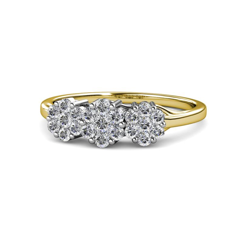 Petunia Round AGS Certified Diamond Floral Anniversary Ring - Round AGS Certified Diamond Floral Anniversary Ring 1.00 ctw 14K Yellow Gold