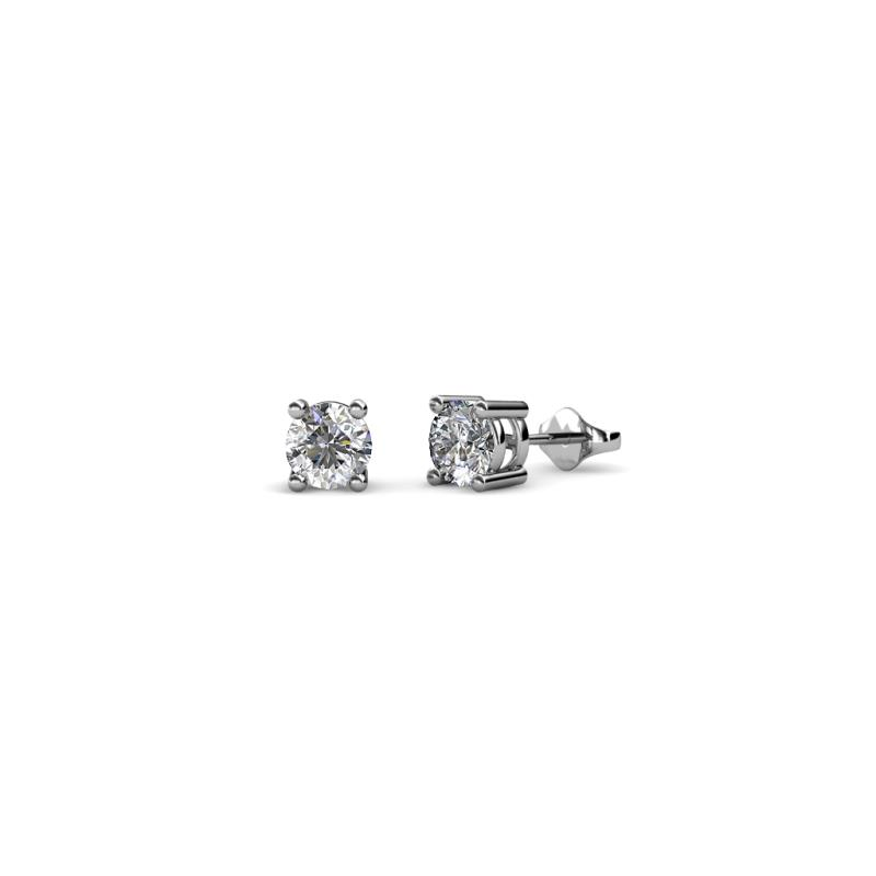 Alina Diamond (3.2mm) Solitaire Stud Earrings - Diamond Four Prong Womens Solitaire Stud Earrings 0.25 ctw 18K White Gold