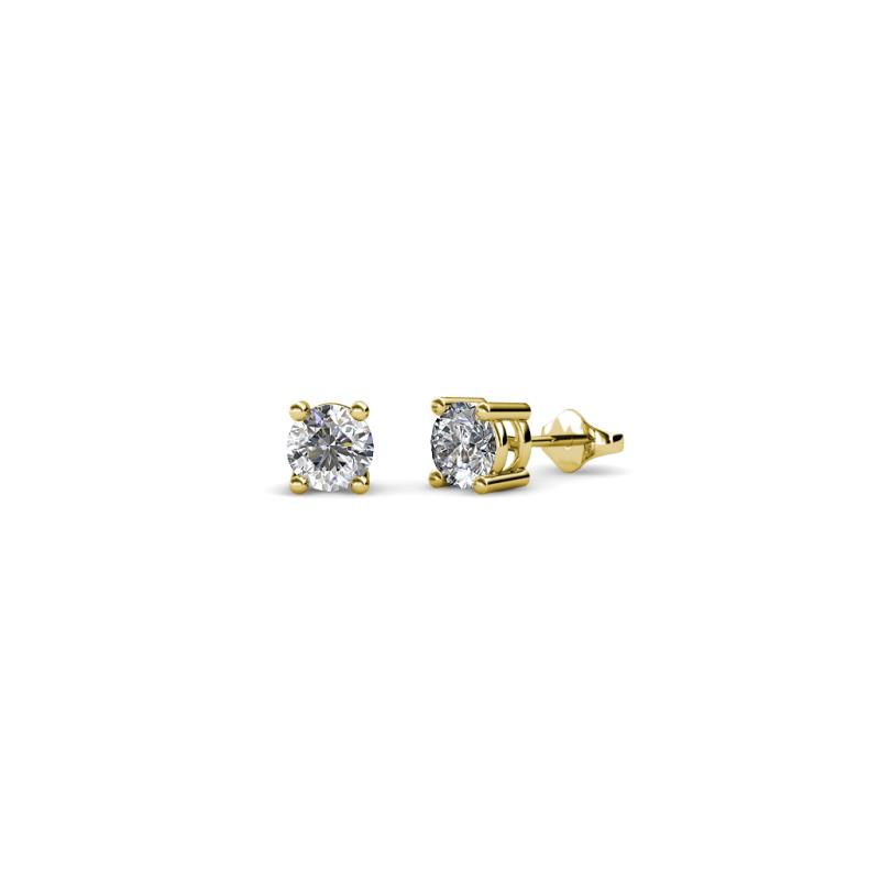 Alina Diamond (3.5mm) Solitaire Stud Earrings - Diamond Four Prong Womens Solitaire Stud Earrings 0.33 ctw 18K Yellow Gold