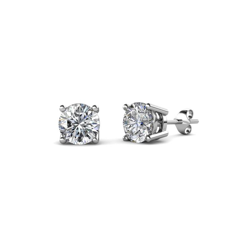 Alina Diamond (4.6mm) Solitaire Stud Earrings - Diamond Four Prong Womens Solitaire Stud Earrings 0.75 ctw 18K White Gold