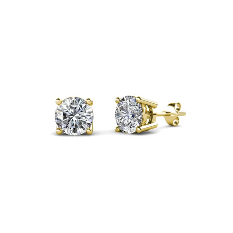 Alina Diamond (4.6mm) Solitaire Stud Earrings - Diamond Four Prong Womens Solitaire Stud Earrings 0.75 ctw 14K Yellow Gold