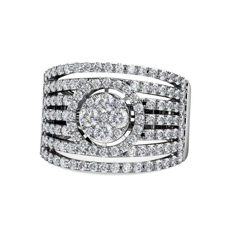 Zelia Prima Round Diamond 2.00 ctw Multi Row Split Shank Cluster Ring - Round Diamond Womens Multi Row Split Shank Cluster Ring 2.00 ctw 14K White Gold
