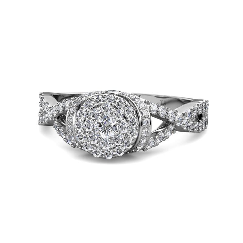 Melita Prima Round Diamond Cluster Halo Ring with Twist Shank - Round Diamond Womens Cluster Halo Ring with Twist Shank 0.75 ctw 14K White Gold
