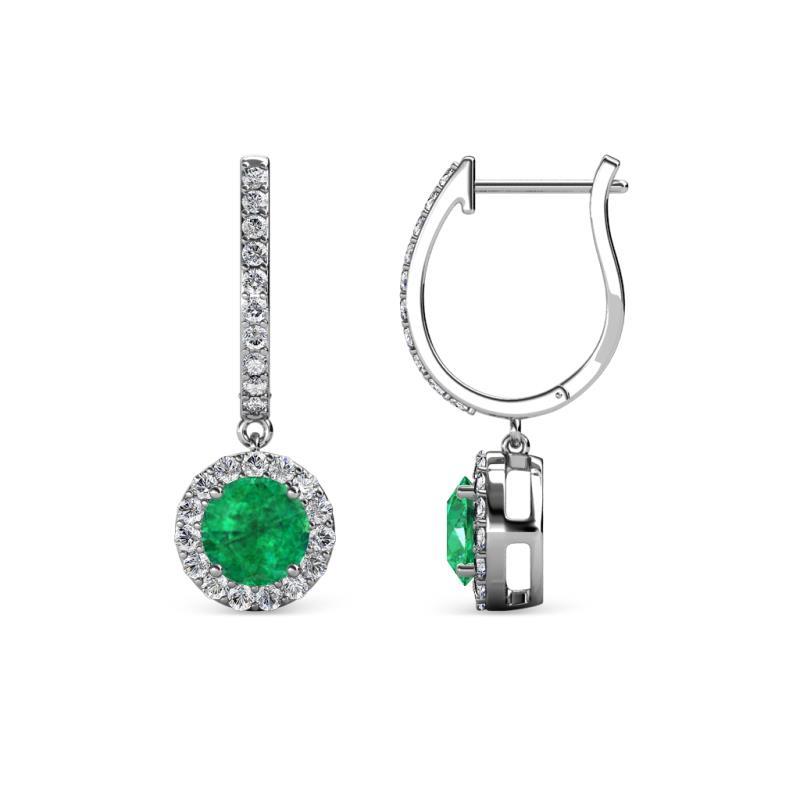 Ilona Emerald and Diamond Halo Dangling Earrings - Emerald and Diamond Womens Halo Drop and Dangle Earrings 1.22 ctw 14K White Gold