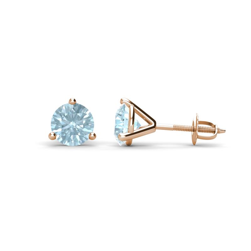 15461a83e Aquamarine 3 Prong Solitaire Womens Stud Earrings 0.80 ctw 14K Rose Gold  More Details ... 5 (1 Reviews). 1 ...