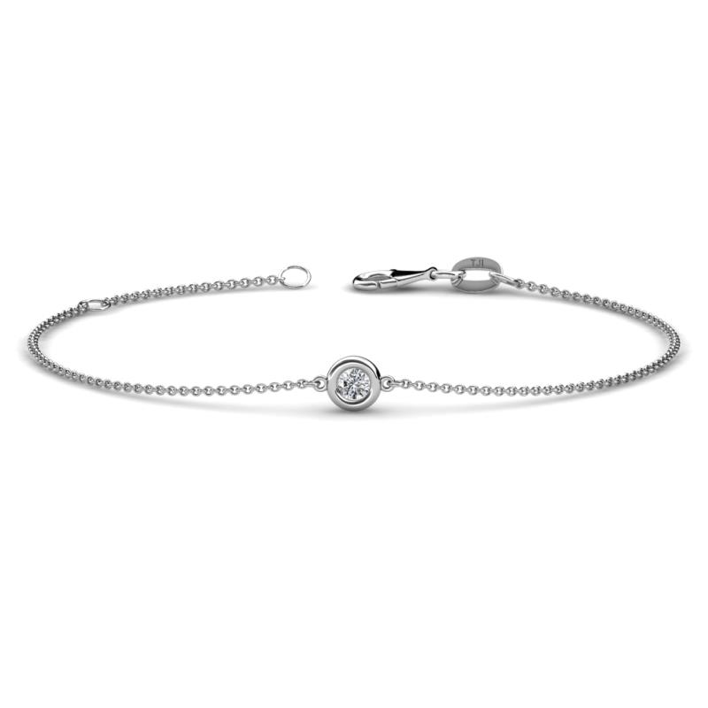 Alys (3mm) Round Diamond Solitaire Station Minimalist Bracelet - Round Diamond Solitaire Station Minimalist Bracelet 0.10 ct 14K White Gold