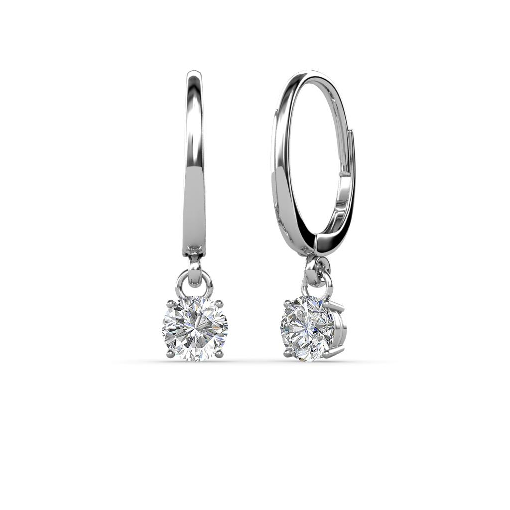 Grania Lab Grown Diamond (4mm) Solitaire Dangling Earrings - Lab Grown Diamond Four Prong Womens Solitaire Drop and Dangle Earrings 0.50 ctw 14K White Gold