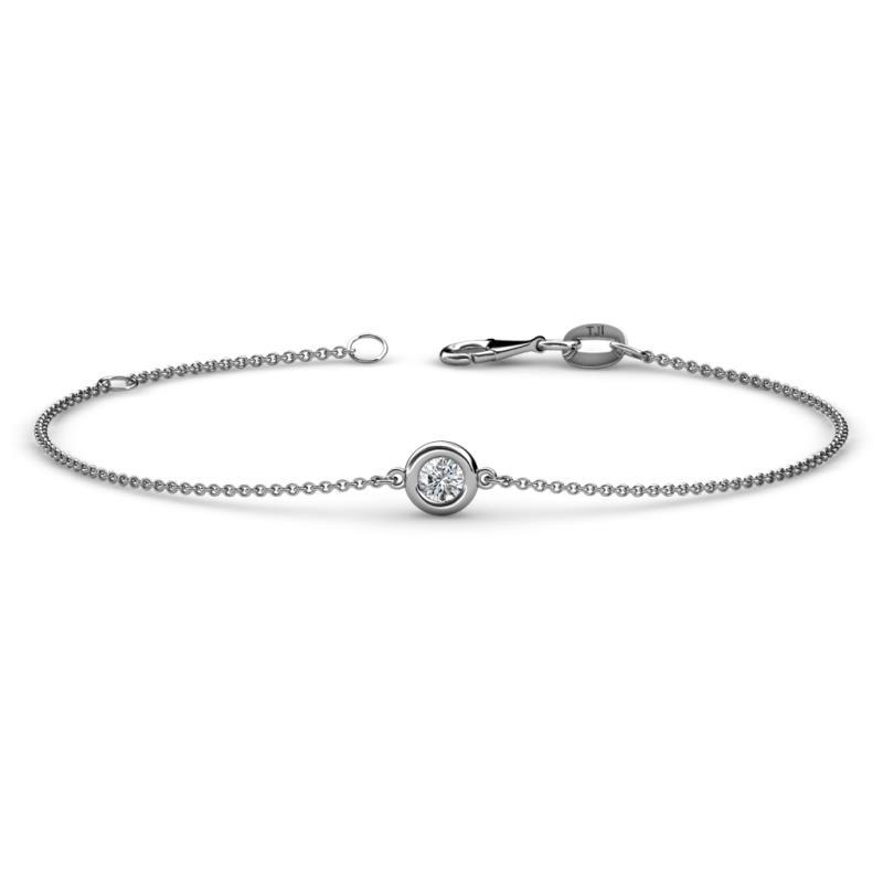 Alys (3.5mm) Round Diamond Solitaire Station Minimalist Bracelet - Round Diamond Solitaire Station Minimalist Bracelet 0.15 ct 14K White Gold