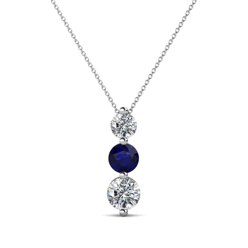 Kesha (4mm) Round Blue Sapphire and Diamond Graduated Three Stone Drop Pendant - Round Blue Sapphire and Diamond Graduated Three Stone Drop Pendant 0.76 ctw 14K White Gold.Included 18 Inches 14K White Gold Chain