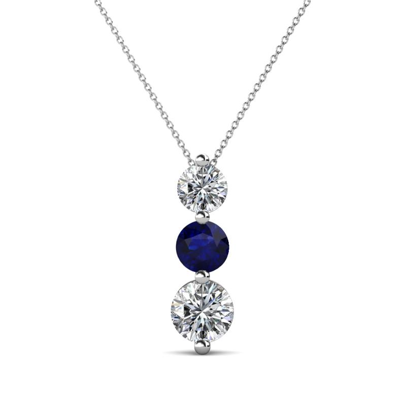 Kesha (4.2mm) Round Blue Sapphire and Diamond Graduated Three Stone Drop Pendant - Round Blue Sapphire and Diamond Graduated Three Stone Drop Pendant 0.92 ctw 14K White Gold.Included 18 Inches 14K White Gold Chain