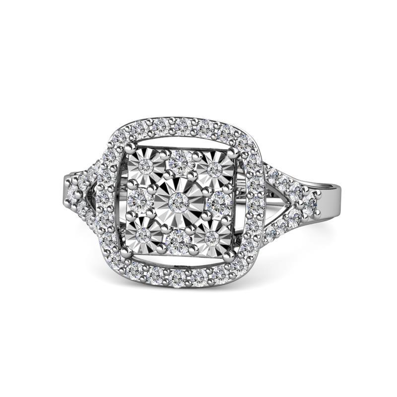 Frayda Prima Round Diamond Illusion Cluster Halo Ring with Split Shank - Round Diamond Womens Illusion Cluster Halo Ring with Split Shank 0.50 ctw 14K White Gold